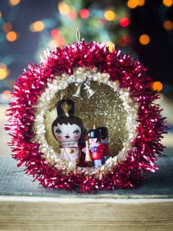 Handmade Christmas three ornament with Kokeshi miniature wooden art doll by Danita Art