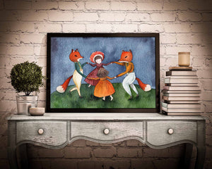Original Watercolor painting by Idania salcido the artist behind Danita Art. Foxes Wolves and mushrooms dance together at night on this original reproduction of a dreamlike fairytale watercolor painting.