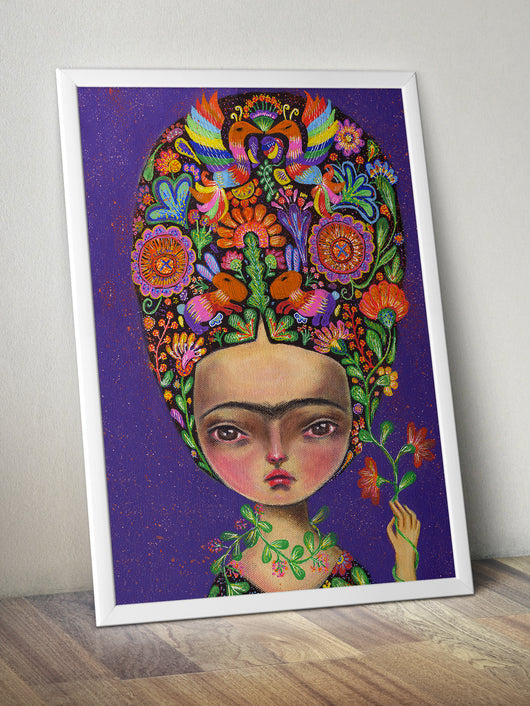 Frida Kahlo painted by the talented Danita Art, using acrylic paintings. A celebration of Mexico, and the rich native culture of the Otomi tribe with colorful spirit animal patterns.