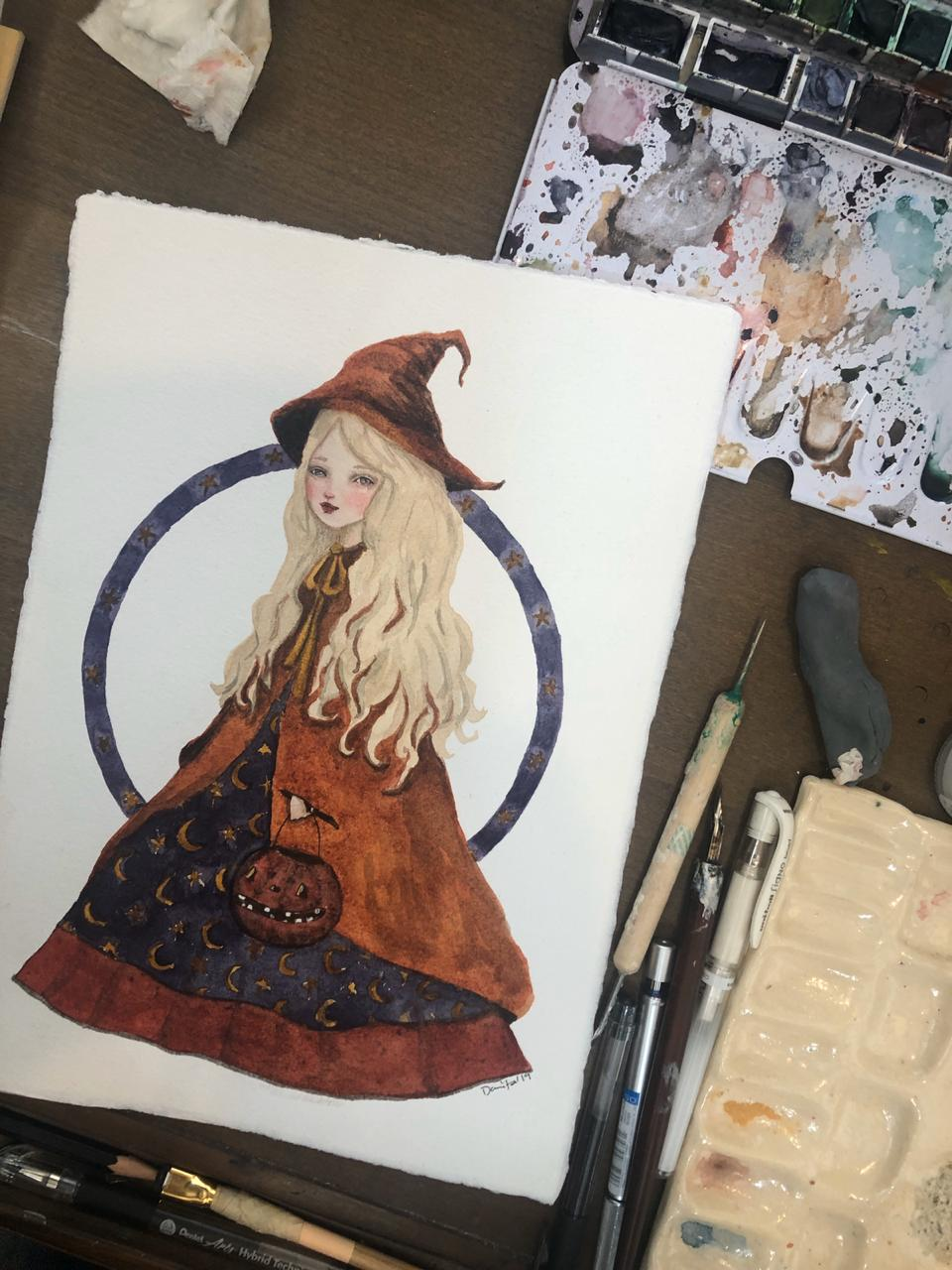 Beautiful original watercolor Halloween art by Danita. Inspired by vintage halloween postcards and photographs, this whimsical folk art inspired watercolor painting will be an amazing home decor accent.