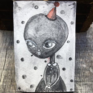 Darknita Danita Monster Creature Alien Watercolor Graphite Pencil Drawing ACEO Card Original Halloween Illustration