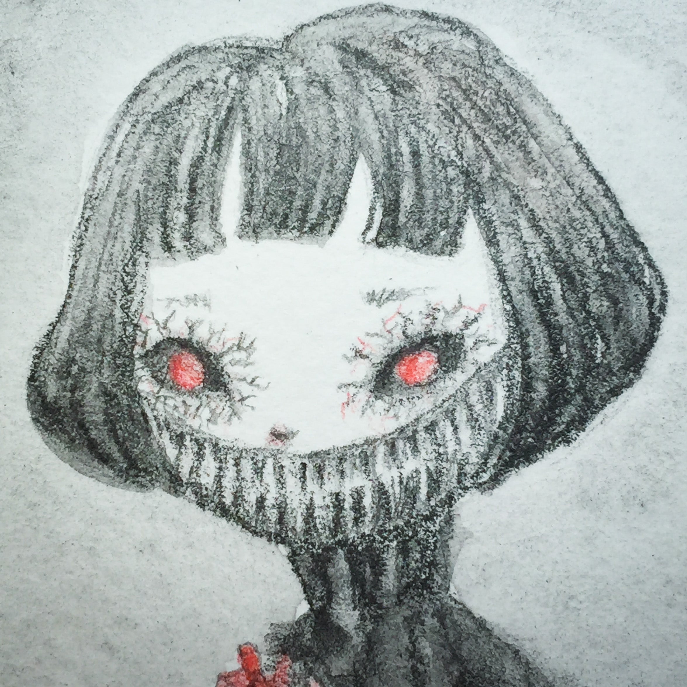 Darknita Danita Monster Creature Ghoul Watercolor Graphite Pencil Drawing ACEO Card Original Halloween Illustration Heart Eat