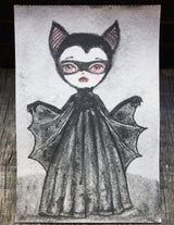Darknita Danita Monster Creature Vampire Watercolor Graphite Pencil Drawing ACEO Card Original Halloween Illustration
