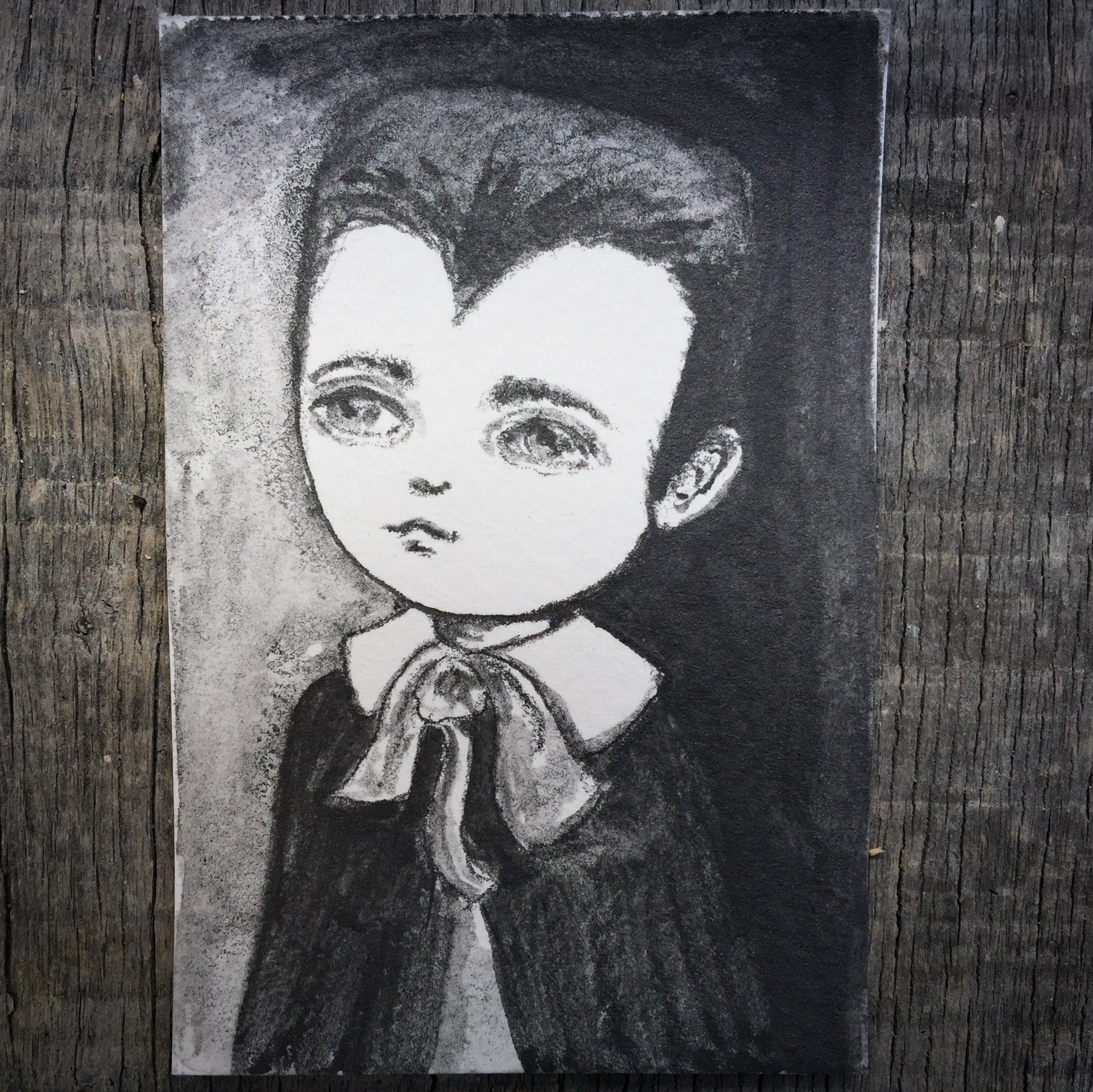 EDDIE MUNSTER - Original ACEO trading card Halloween vampire drawing by Danita, Original Art by Danita Art