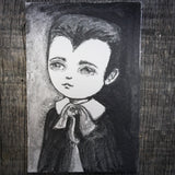 Darknita Danita Monster Creature Eddie Munster Vampire Watercolor Graphite Pencil Drawing ACEO Card Original Halloween Illustration