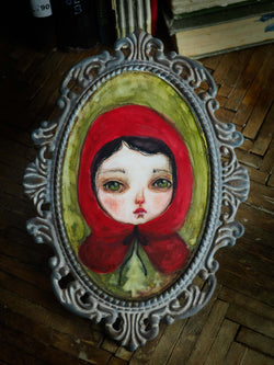 Little red riding hood Watercolor painting by Danita Art.