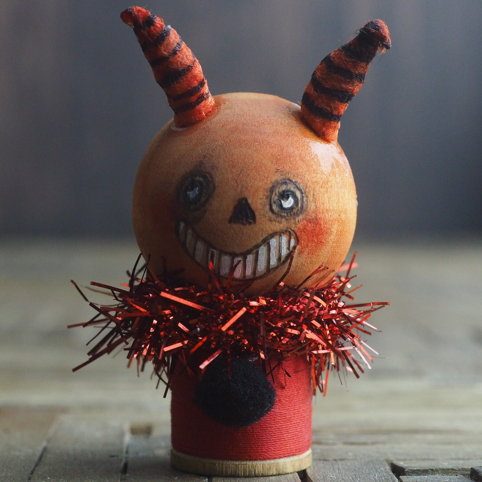 Danita kokeshi folk art vintage Halloween spook art doll original home decor decoration devil demon Lucifer figurine Satan