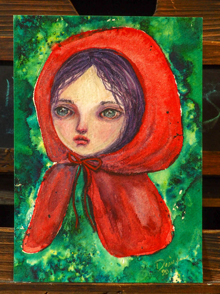 LITTLE RED RIDING HOOD - An original watercolor by Danita
