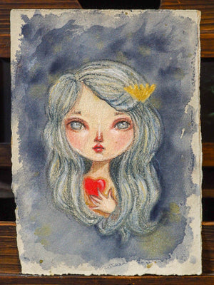 THE MERMAID'S HEART - An original watercolor by Danita