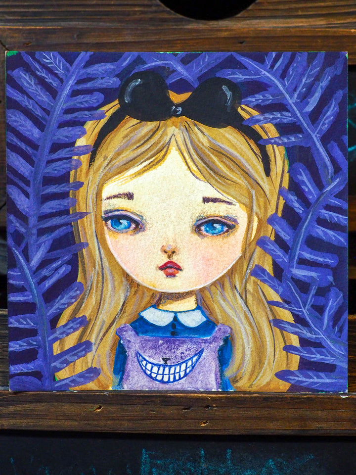 ALICE AND THE CHESHIRE CAT - An original watercolor by Danita