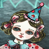 A paper art doll by Danita Art. Original watercolor painting turned into a hand cut posable doll.