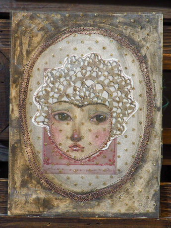 VINTAGE GIRL - An original mixed media painting by Danita