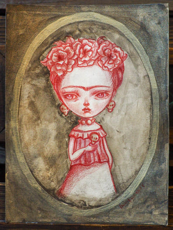 FRIDA WITH A SKULL - An original mixed media painting by Danita