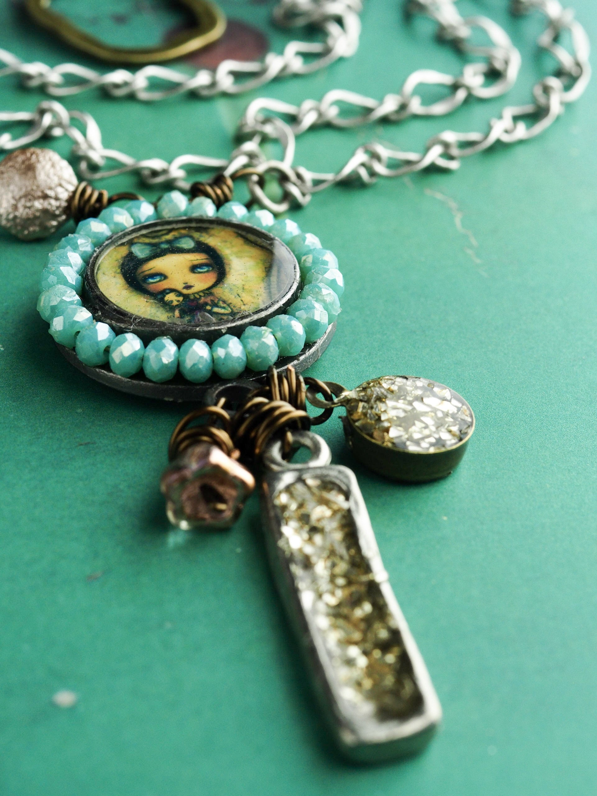 Me In a box - Necklace in pewter and brass by Danita, Jewelry by Danita Art