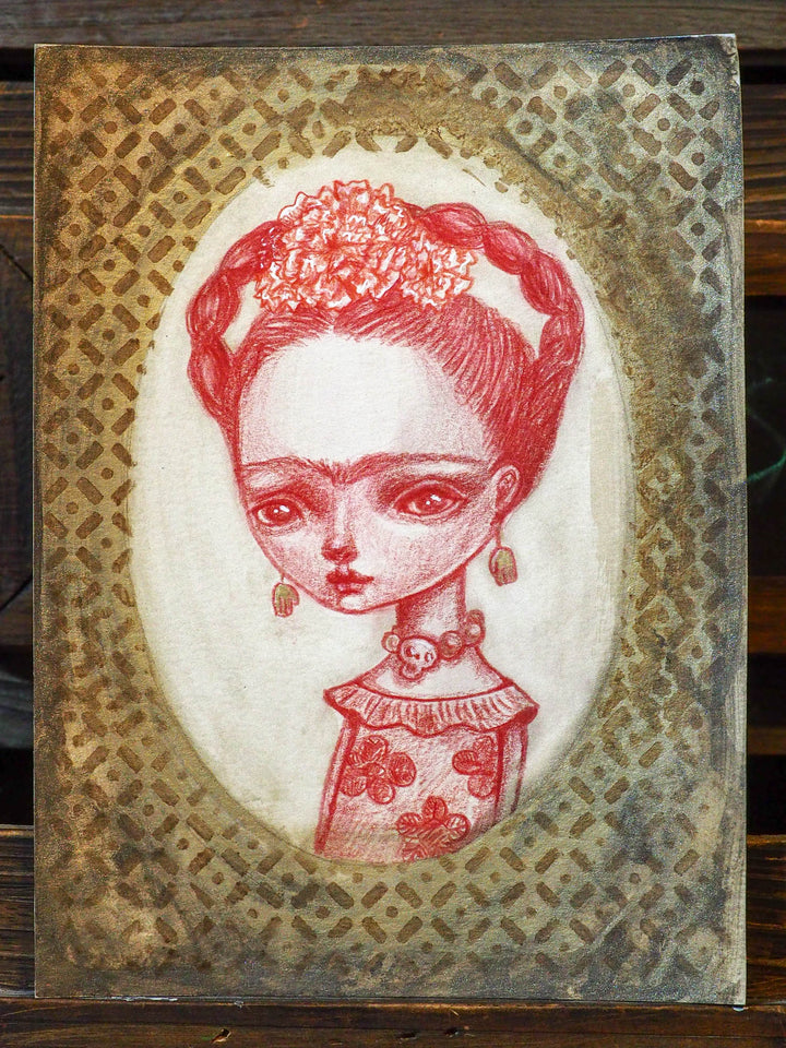 FRIDA WITH SKULL EARRINGS - An original mixed media painting by Danita