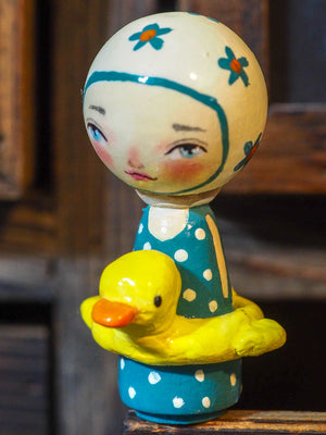 RUBBER DUCK - An original mixed media kokeshi mini doll wood sculpture by Danita Art