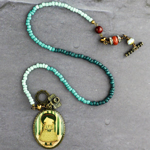 The Photographer - Jade and turquoise necklace by Danita, Jewelry by Danita Art
