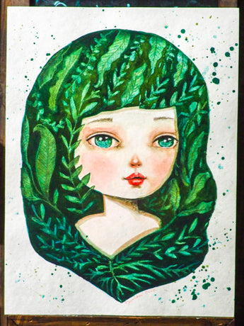 WILLOW - Original painting in watercolor by Danita Art