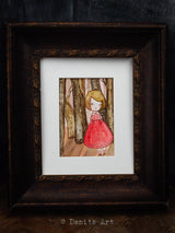 The forest of forgotten dreams, an original portrait in watercolor and paper by Danita Art