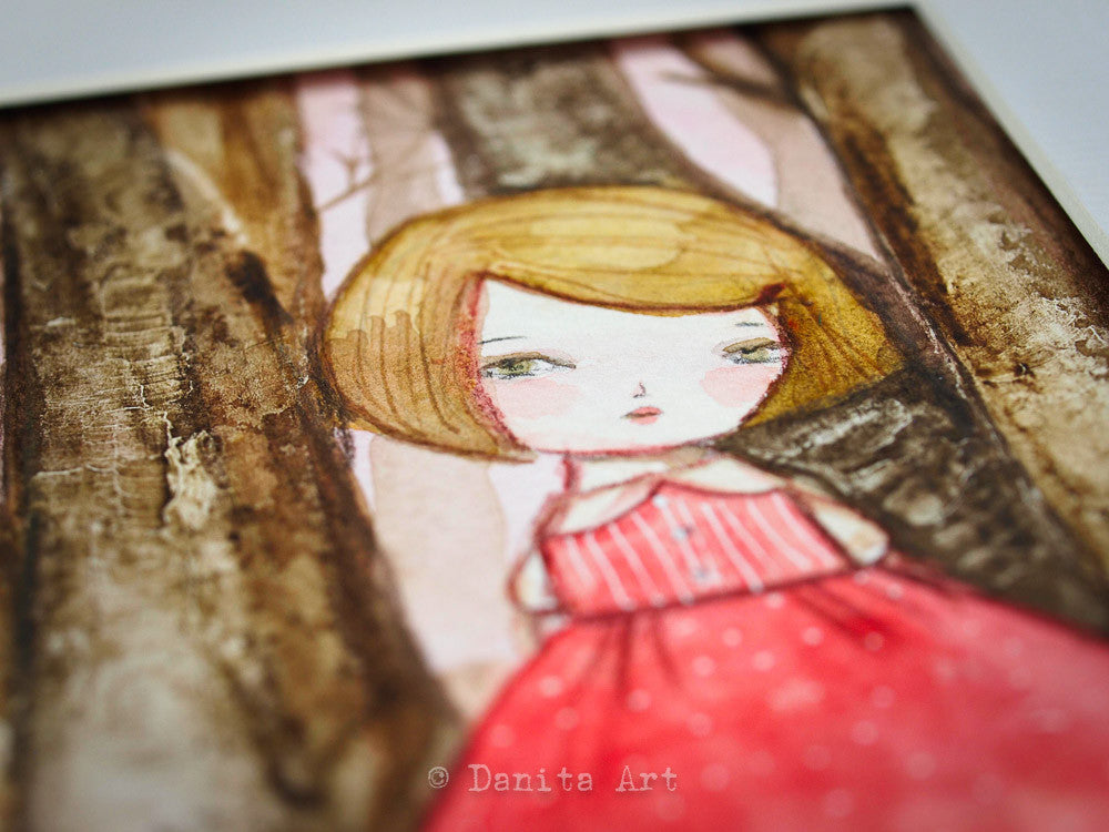 A detail of the amazing watercolor works of Danita, where girls with soulful eyes and sorrowful faces roam a surreal fantasy world.