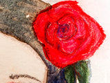 Watercolor original painting by Danita Art. Girl with red rose in her hair. Perfect decoration with a melancholy touch.