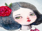 Watercolor original painting by Danita. A pale girl with a red rose in her hair.