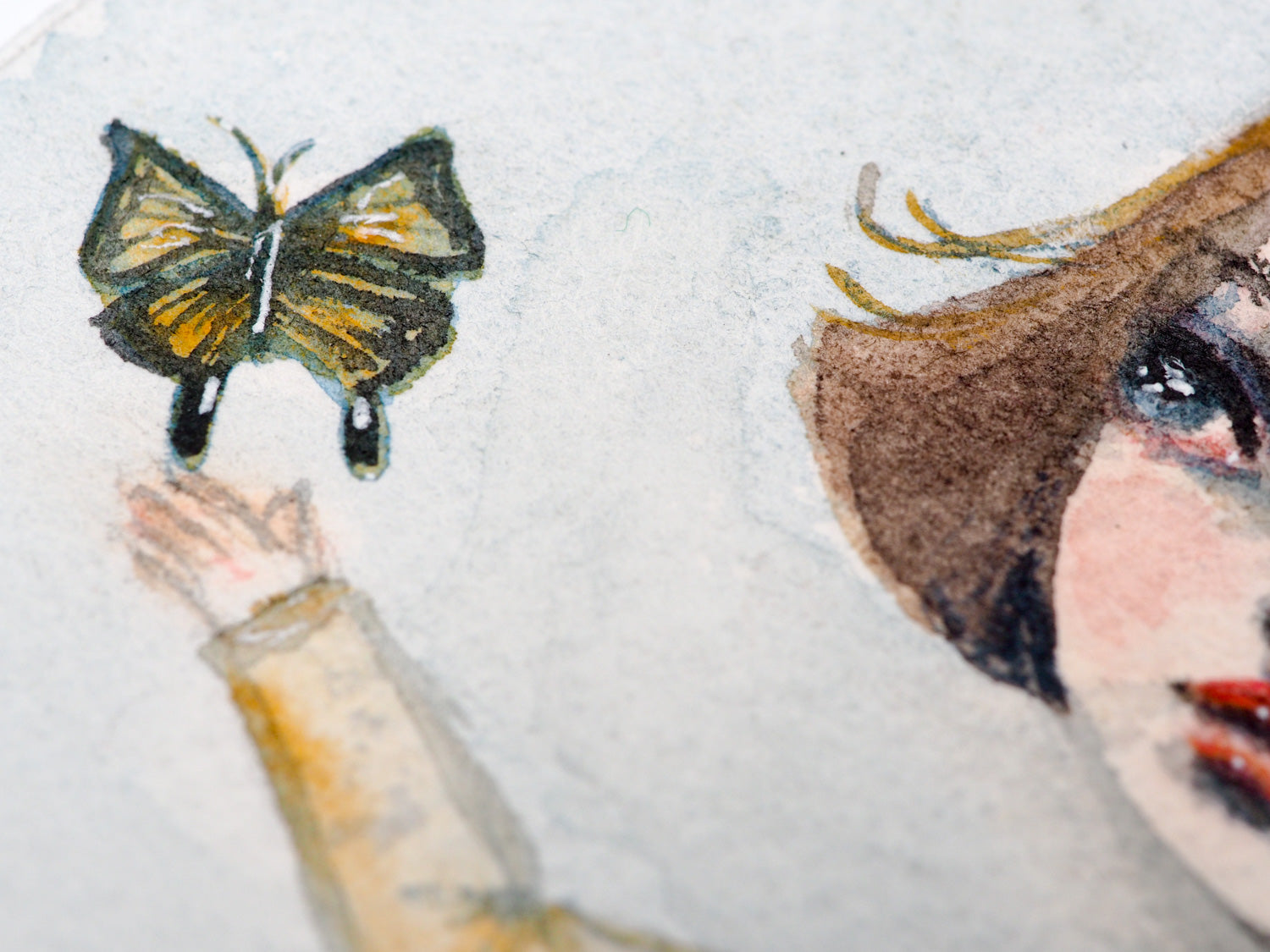 Original watercolor painting by Danita. A monarch butterfly is liberated by a compassionate blonde girl.