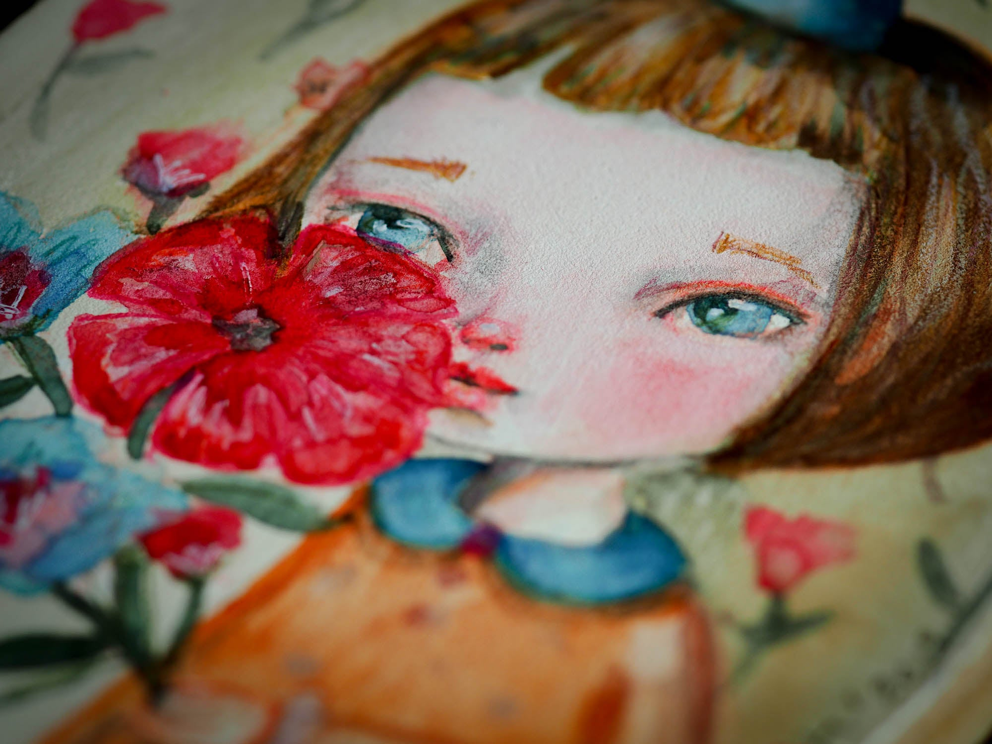 POPPY - An original watercolor painting by Danita Art