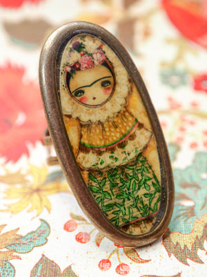FRIDA TEHUANA - Handmade ring jewelry by Danita, Jewelry by Danita Art