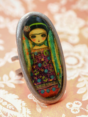 FRIDA WITH FLOWERS - Blooming Frida on a handmade ring by Danita, Jewelry by Danita Art