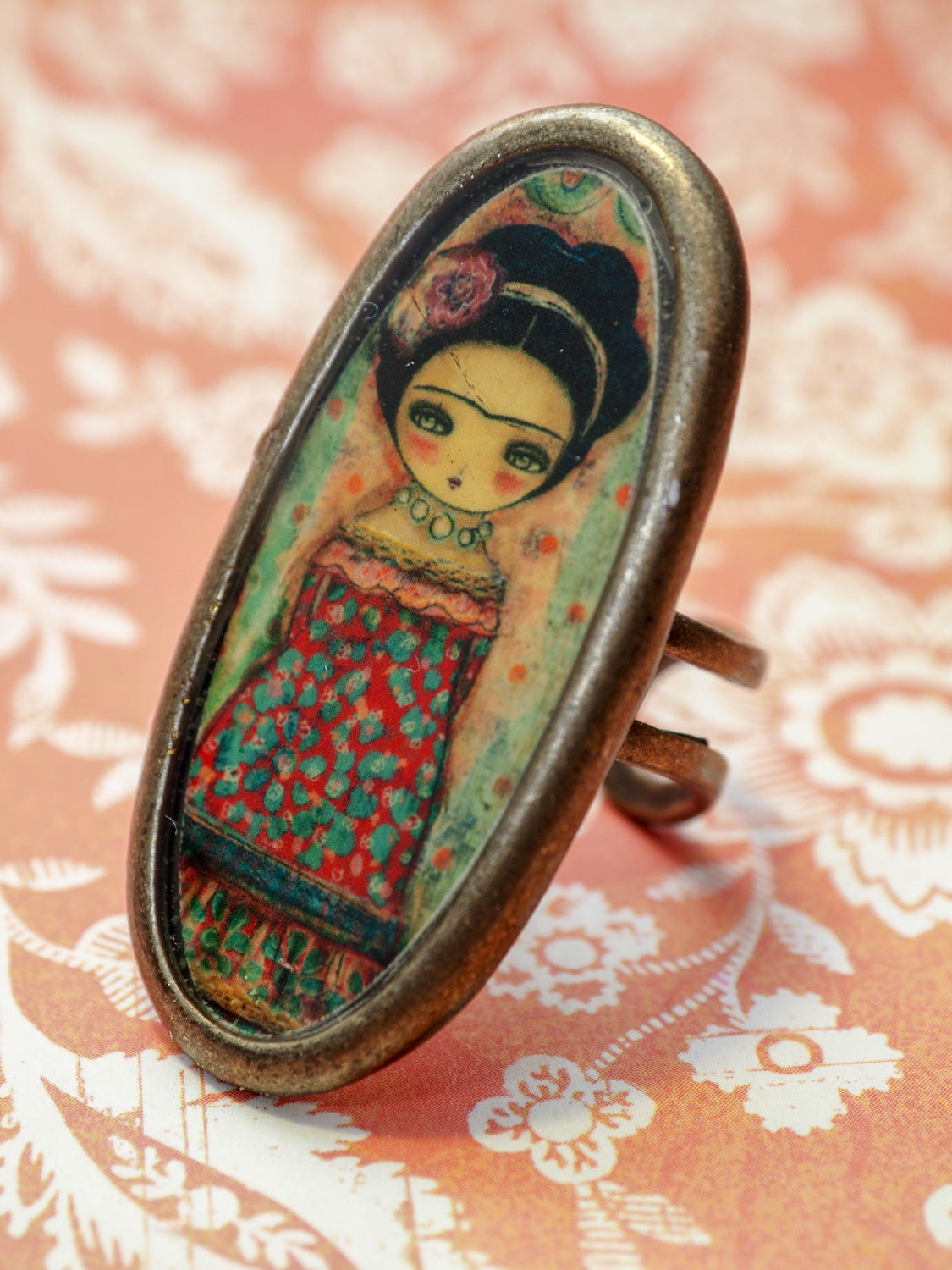 FRIDA IN A RED DRESS -  Frida blooms with a flowery dressing a  handmade ring by Danita, Jewelry by Danita Art