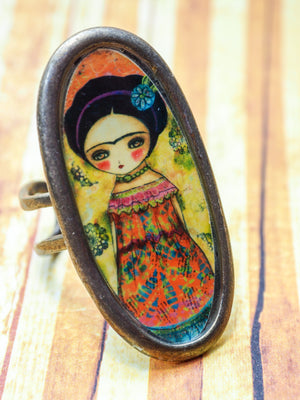 FRIDA IN AN ORANGE DRESS -  Frida with flowers on an original ring by Danita, Jewelry by Danita Art
