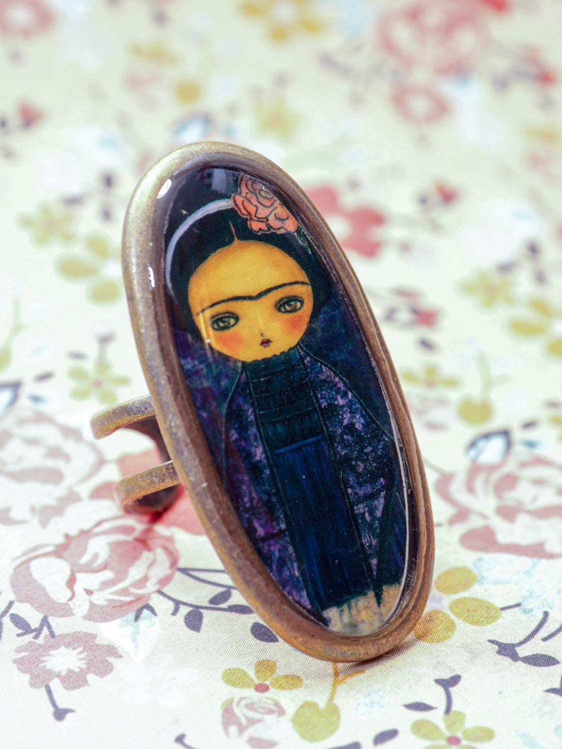 FRIDA IN AN PURPLE DRESS -  A dark Frida on a ring by Danita, Jewelry by Danita Art