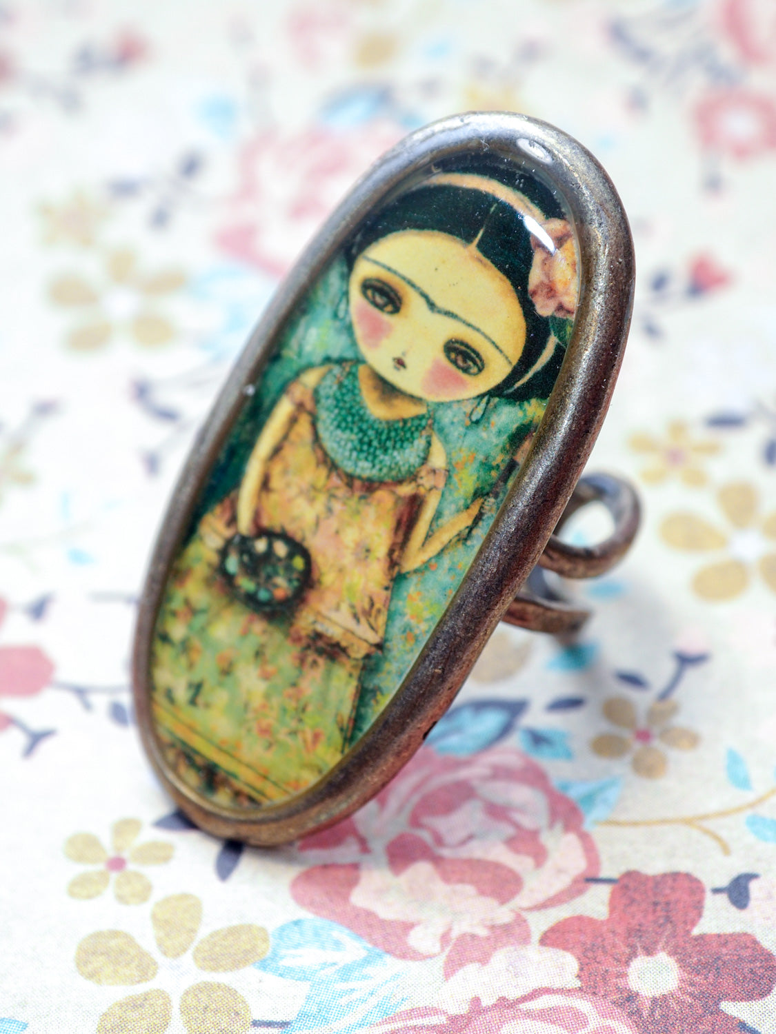FRIDA THE ARTIST - Frida posed for Danita on this handmade ring, Jewelry by Danita Art