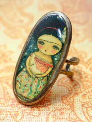 LULLABY FOR THE MOON - Frida cradles the moon on this Danita original ring, Jewelry by Danita Art
