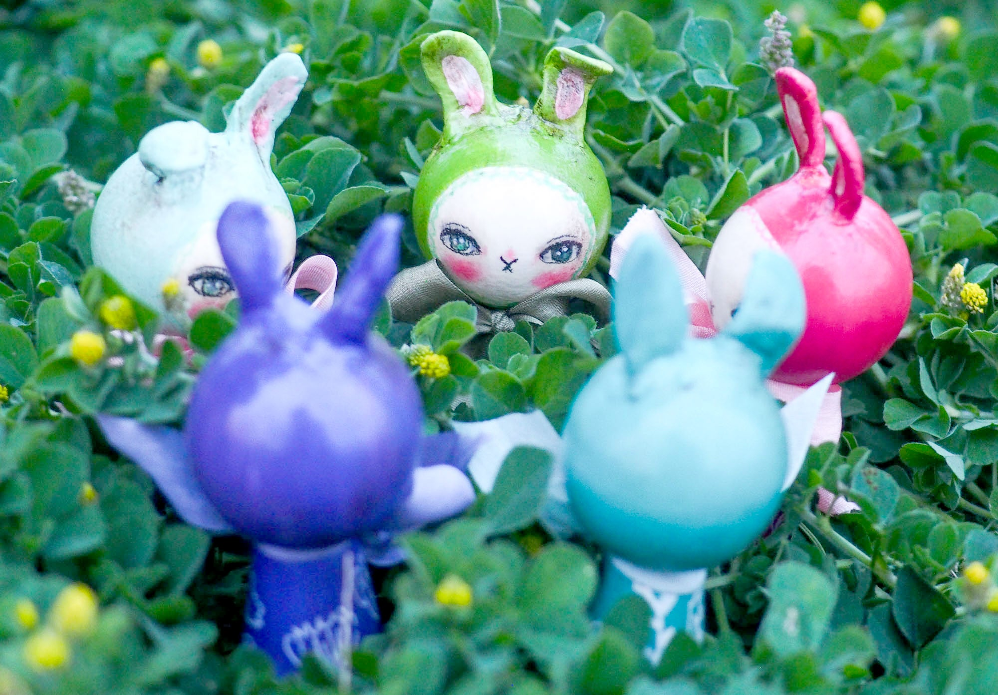 BLUEBELL. A handmade kokeshi easter bunny rabbit doll by Danita., Miniature Dolls by Danita Art