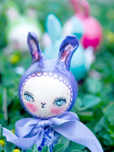 A kokeshi art doll handmade by Danita. Easter bunny rabbits with paper clay sculpted ears want to live with you this Spring time!