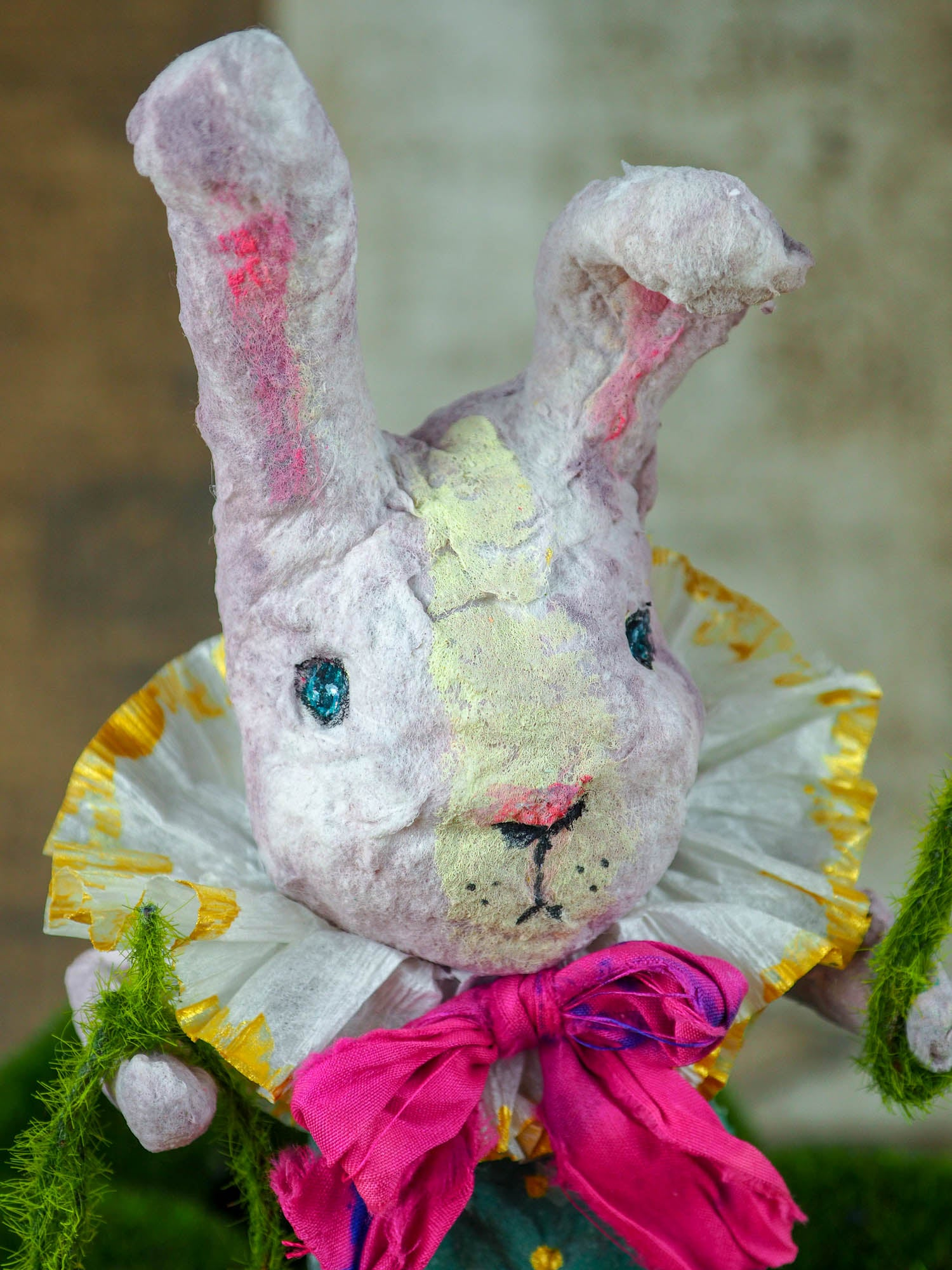 "Spring always inspires Danita to make beautiful handmade decorations for when the flowers start to bloom, just like this 10"" spun cotton handmade bunny rabbit art doll by Danita, hand painted and dressed in a beautiful striped suit and a wonderful silk bow."