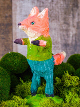 "Spring always inspires Danita to make beautiful handmade decorations for when the flowers start to bloom, just like this 6"" spun cotton handmade red fox art doll by Danita, hand painted and dressed in a simple green shirt and blue striped jeans."