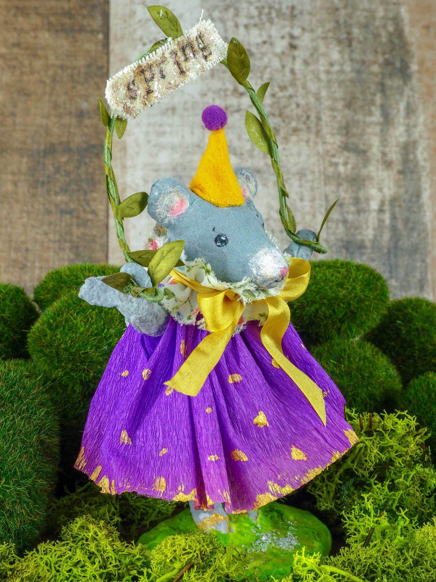 "Spring always inspires Danita to make beautiful handmade decorations for when the flowers start to bloom, just like this 6"" spun cotton handmade grey mouse art doll by Danita, hand painted and dressed in a hand painted polka dot paper skirt."