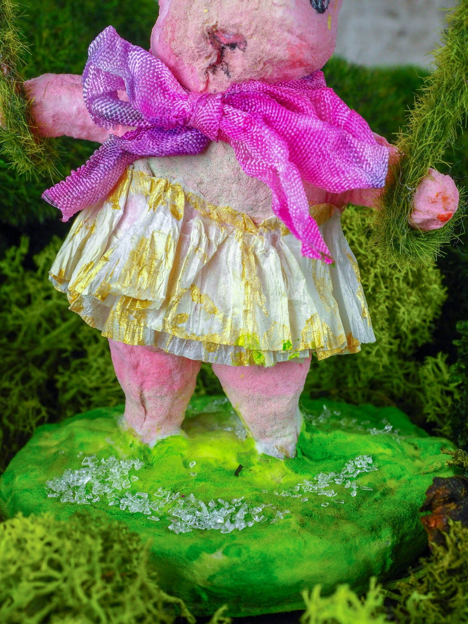 "Spring always inspires Danita to make beautiful handmade decorations for when the flowers start to bloom, just like this 4"" spun cotton handmade pink Easter bunny rabbit art doll by Danita, hand painted and dressed in a hand painted polka dot paper skirt."
