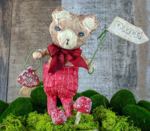 "Spring always inspires Danita to make beautiful handmade decorations for when the flowers start to bloom, just like this 10"" spun cotton handmade brown bear art doll by Danita, hand painted and dressed in a red jumpsuit."
