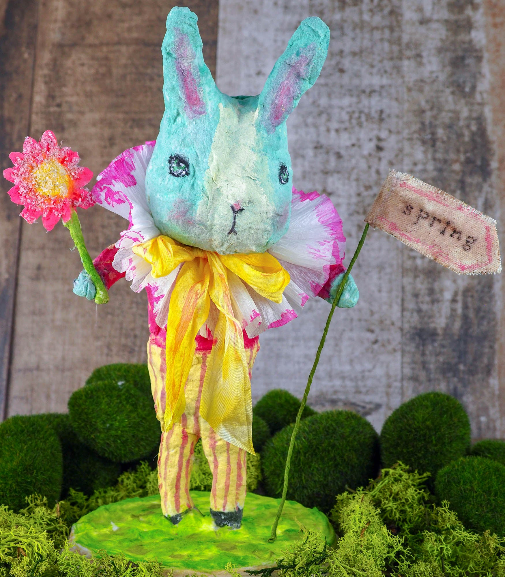 "Spring always inspires Danita to make beautiful handmade decorations for when the flowers start to bloom, just like this 10"" spun cotton handmade Easter bunny rabbit art doll by Danita, hand painted and dressed in a colorful yellow jumper suit."