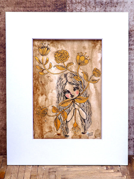 FLOWERING - An original mixed media painting in watercolor and ink by Danita Art, Original Art by Danita Art