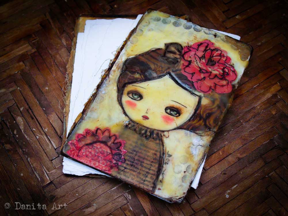 Original beeswax art journal, an upcycled antique book, Art Journal by Danita Art
