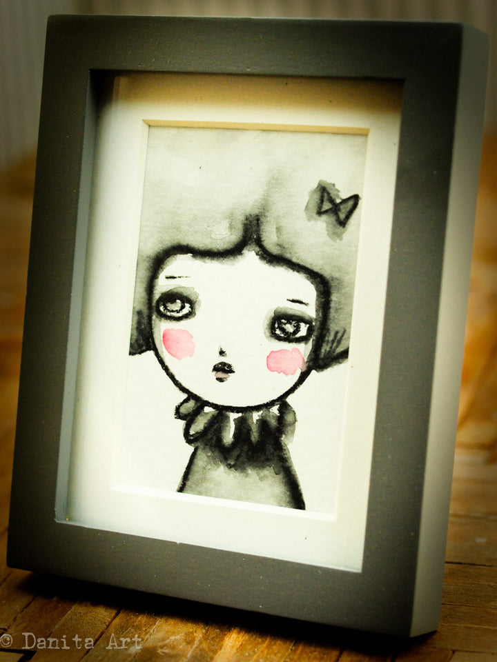 Monochrome watercolor study #1 - Original ACEO watercolor painting, Original Art by Danita Art
