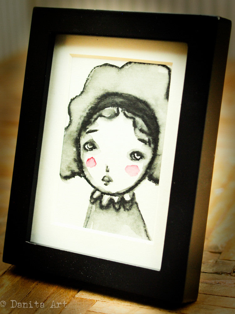 Monochrome watercolor study #3 - Original ACEO watercolor painting, Original Art by Danita Art