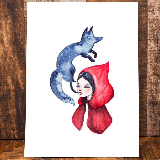 SPIRIT ANIMAL - Little Red Riding Hood original watercolor painting by Danita, Original Art by Danita Art