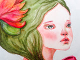 Inspired by Spring, Danita created an astonishing watercolor painting. A naked girl, in touch with her inner nature as she blooms into the world.