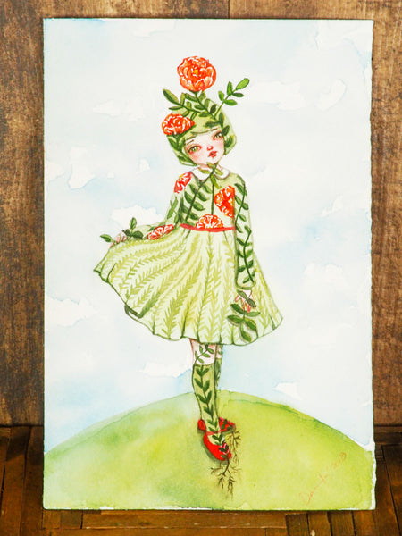 LITTLE MISS NATURE - Original flower girl watercolor by Danita Art, Original Art by Danita Art